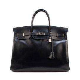 Hermès-Exceptionnel Hermès Birkin 40 en cuir box noir, accastillage palladié en très bon état !-Noir