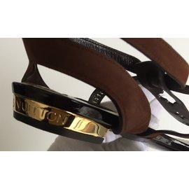 Louis Vuitton-Sandale Louis Vuitton en cuir et daim taille 37,5-Bronze
