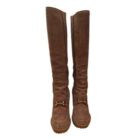 Gucci-GUCCI BOOTS IN SUEDE LEATHER WEDGIES  - NEW!! SIZE LIKE 38 38,5-Beige