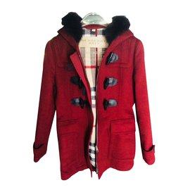 Burberry-Coats, Outerwear-Dark red
