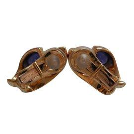 Bulgari-Vintage Bvlgari 18Boucles d'oreilles améthyste en or jaune K-Doré