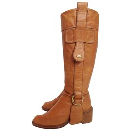 Chloé-Leather boots-Cognac