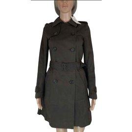 Comptoir Des Cotonniers-Trench coat marron neuf avec étiquette-Marron foncé