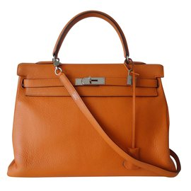 Hermès-BAG HERMES KELLY ORANGE-Orange