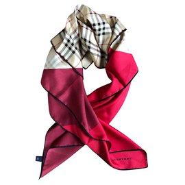 Burberry-Silk scarves-Red,Beige,Dark red