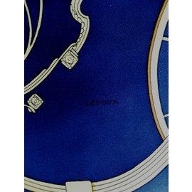 """Hermès-Carré Hermès """"Springs"""" signé LEDOUX, Carré 100Matière principale : Soie-Blanc,Rouge,Doré,Bleu Marine"""