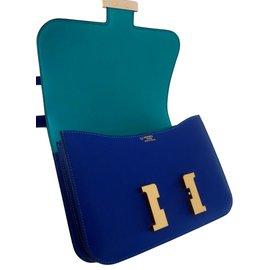 Hermès-SAC CONSTANCE HERMES 24 BICOLORE-Bleu,Bleu clair