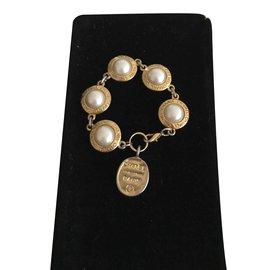 Chanel-Vintage Parure bracelet et boucles d'oreille-Doré