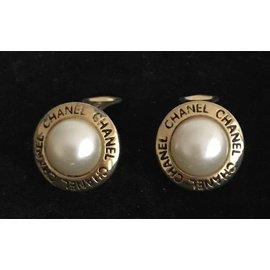 Chanel-Vintage Parure bracelet and earrings-Golden