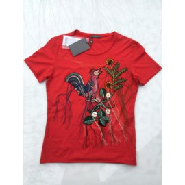 Alexander Mcqueen-Bird of Paradise embroidered top-Red