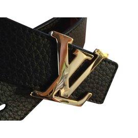 Louis Vuitton-Ceinture cuir réversible noire et gold-Noir
