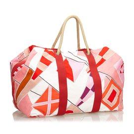Hermès-Drapeaux Au Vent Sac De Voyage-Rouge,Multicolore