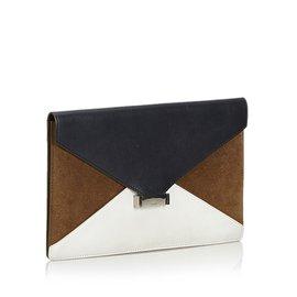 Céline-Diamond Leather Clutch Bag-White,Blue,Navy blue