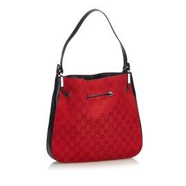 Gucci-GG Jacquard Drawstring Sac à bandoulière-Noir,Rouge