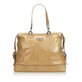 Céline-Patent Leather Handbag-Brown,Khaki