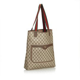 Gucci-Sac cabas GG Supreme Web-Marron,Beige
