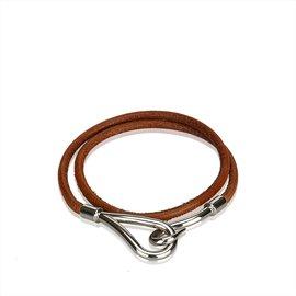 Hermès-Bracelet Double Tour Jumbo Hook-Marron,Argenté