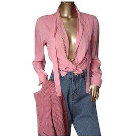 Chanel-Chemise à lavallière 100% soie-Rose