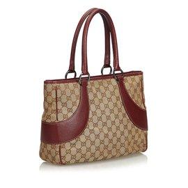 Gucci-Sac cabas en toile GG-Marron,Rouge,Beige