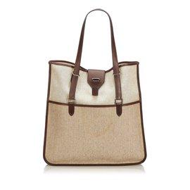 Hermès-Canvas Tote Bag-Brown,Beige