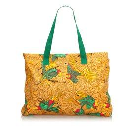 Hermès-Sac cabas en toile imprimée-Multicolore,Orange