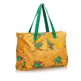 Hermès-Printed Canvas Tote Bag-Multiple colors,Orange