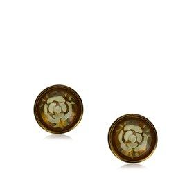 Chanel-Boucles d'oreilles en camélia-Doré,Jaune