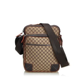 Céline-Macadam Jaquard Crossbody Bag-Brown,Beige,Dark brown