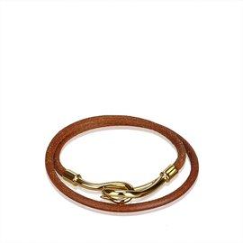 Hermès-Bracelet Double Tour Jumbo Hook-Marron,Doré