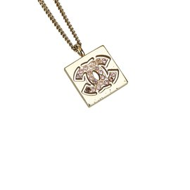 Chanel-Cambon Ligne Pendant Necklace-Pink,Golden