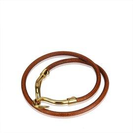 Hermès-Bracelet Double Tour Jumbo Hook-Marron,Doré,Marron foncé