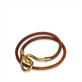 Hermès-Bracelet Double Tour Jumbo Hook-Marron,Doré