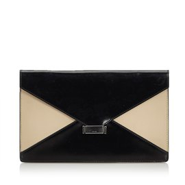 Céline-Leather Diamond Clutch Bag-Brown,Black,Beige