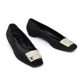 Louis Vuitton-ballet fr40 black suede-Noir