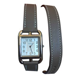 Hermès-Watch HERMES CAPE COD lined tower small new model-Chocolate