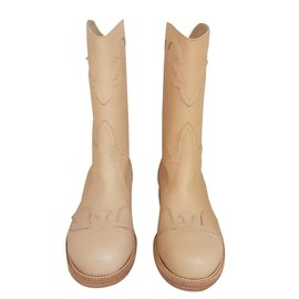 Chanel-Boots cowboy boots CHANEL-Beige