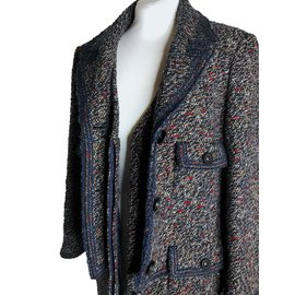 Chanel-Rare tweed wool boucle coat-Brown,White,Red,Blue,Multiple colors,Dark blue