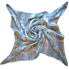 Balenciaga-Silk square scarf-Blue,Multiple colors,Orange,Light blue