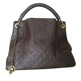 343949ffda28 Louis Vuitton-Louis Vuitton Gris Brown Monogram Python Artsy MM Shoulder Bag-Brown  ...