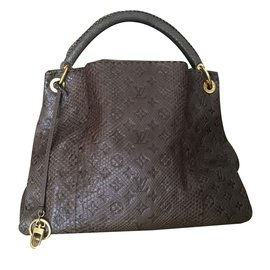 Louis Vuitton-Sac porté épaule MM Louis Vuitton Gris monogramme Python  Artsy MM-Marron ... 9c0b45d3da9