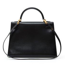 Hermès-KELLY II SELLIER 32 BLACK-Noir