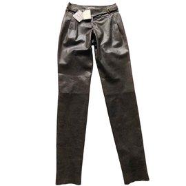 Céline-Pantalons, leggings-Marron foncé
