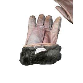Hermès-Superbe gants Hermès fourré vintage-Marron foncé