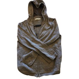 Zadig & Voltaire-Veste grise avec fermeture à glissière et capuche-Gris