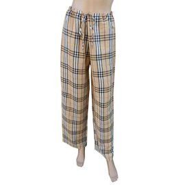 Burberry-Pants, leggings-Beige,Golden
