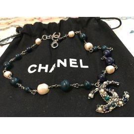 Chanel-Colliers-Bleu,Vert,Métallisé
