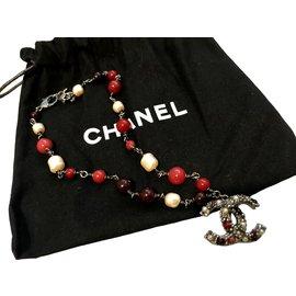 Chanel-Colliers-Rose,Blanc,Métallisé