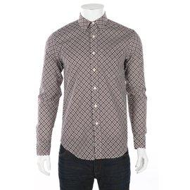 Club Monaco-chemises-Marron,Blanc