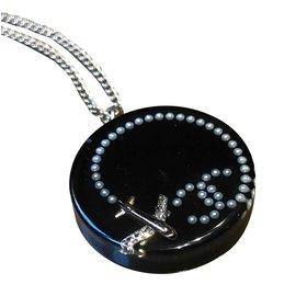 Chanel-Sublime collier chanel-Noir,Argenté