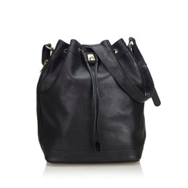 Céline-Leather Bucket Bag-Black